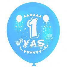 1 Yaş Mavi Baskılı Balon