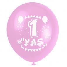 1 Yaş Pembe Baskılı Balon