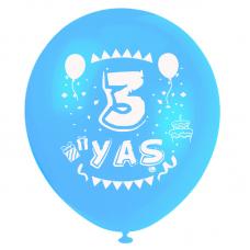 3 Yaş Mavi Baskılı Balon