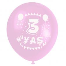 3 Yaş Pembe Baskılı Balon