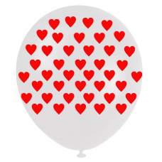 Beyaz Üzeri Kırmızı Kalp Çepeçevre Baskılı Balon