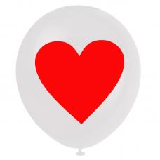 Beyaz Balon Kırmızı Kalp Baskı